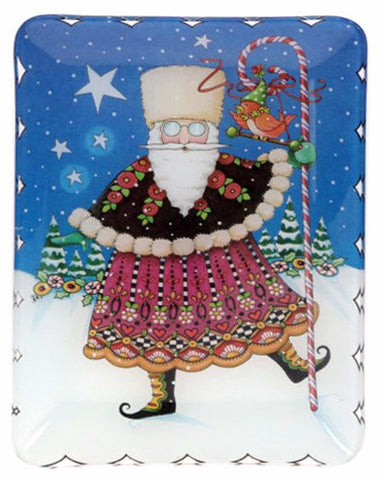 Russian Santa Glass Plate