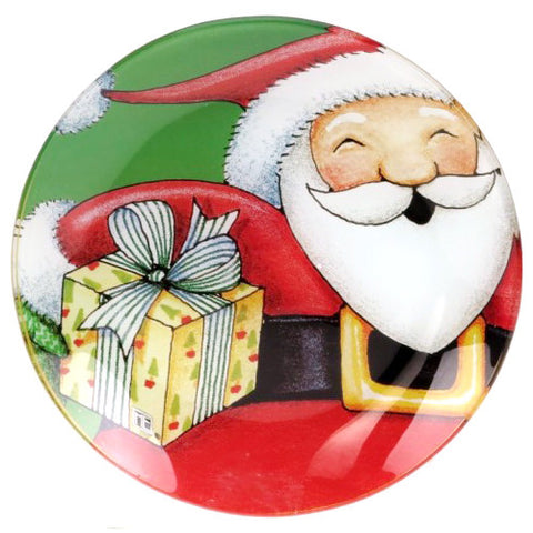Heigh Ho Santa Glass Plate