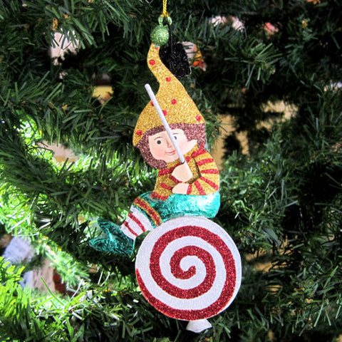 Elf Swinging Lollipop Ornament