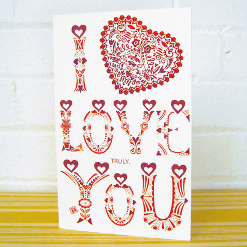 I Love You Hearts Valentine's Day Card