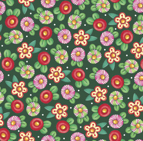 Christmas Flowers on Green Fabric