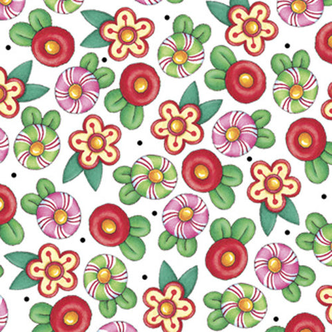 Christmas Flowers on White Fabric