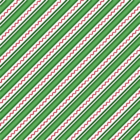 Trimming the Tree  Green Stripes Fabric