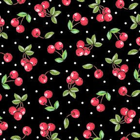 Cherries on Black Fabric