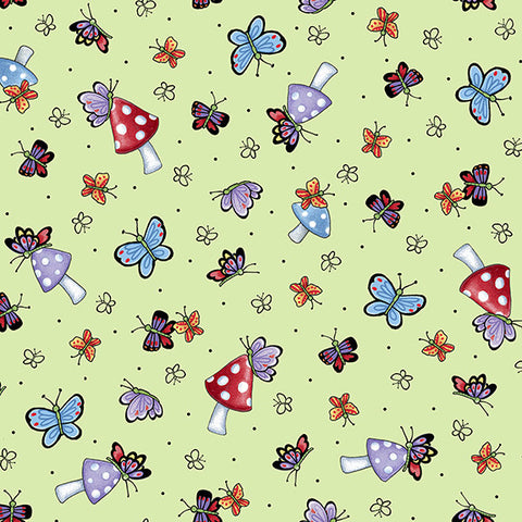 Mary's Fairies Butterflies & Mushrooms - Light Green