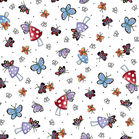Mary's Fairies Butterflies & Mushrooms-White