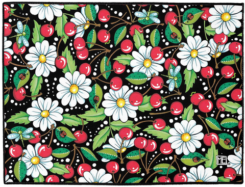 """Cherry Daisy"" Welcome Mat"