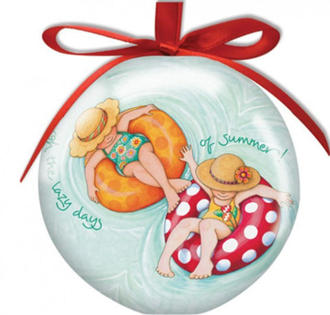 Inner Tube Girls Large Ball Ornament