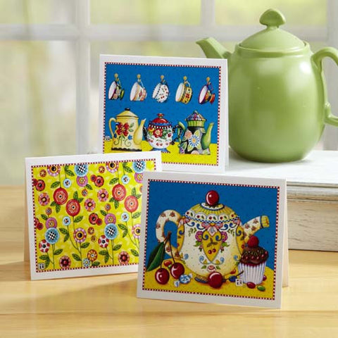 Tea and Flowers Note Cards, set of 12