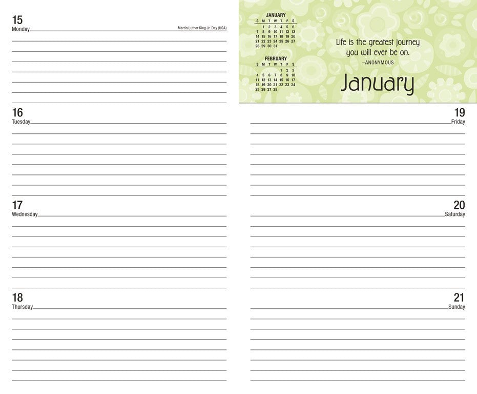 2017 2018 Monthly Weekly Planning Calendar Posh Bold Blossoms