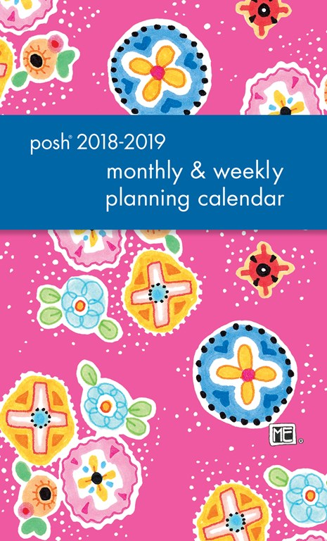 2018-2019 Monthly/Weekly Planning Calendar - Posh Pink Patchwork