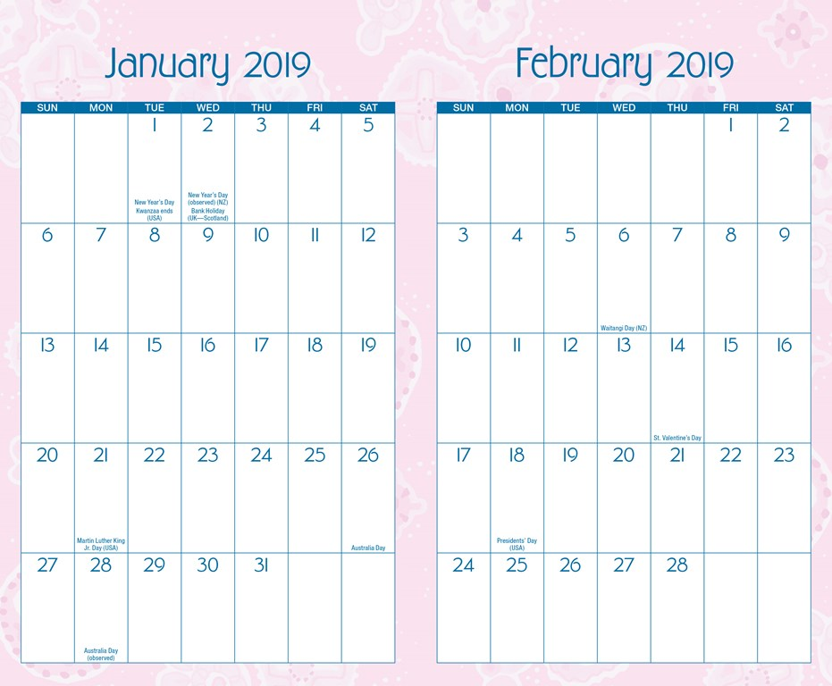 monthly planning calendars