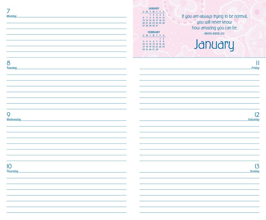 2018 2019 Monthly Weekly Planning Calendar Posh Pink Patchwork