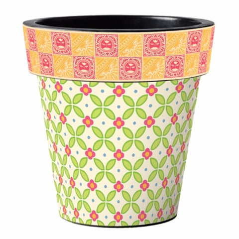 "Pink and Green Lattice 15"" Planter"