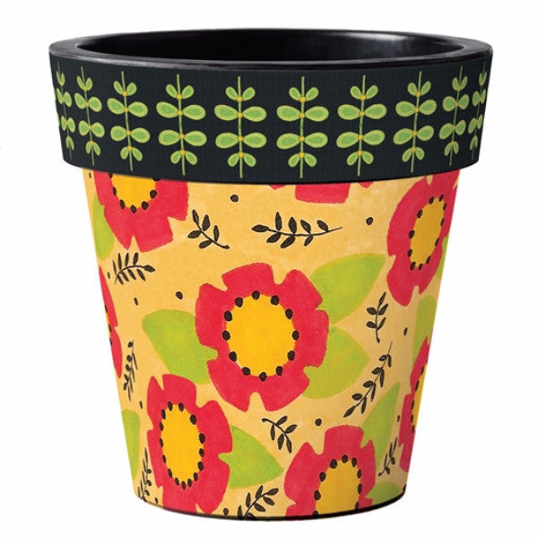 "Red and Yellow Flowers 18"" Planter"