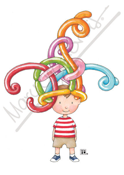 Balloon Hat Boy Greeting Card