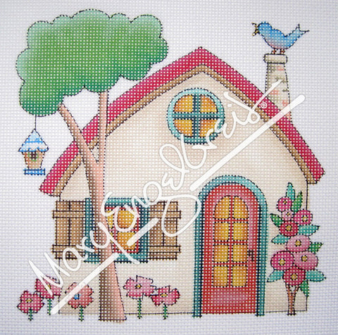 Needlepoint Canvas: Beige House