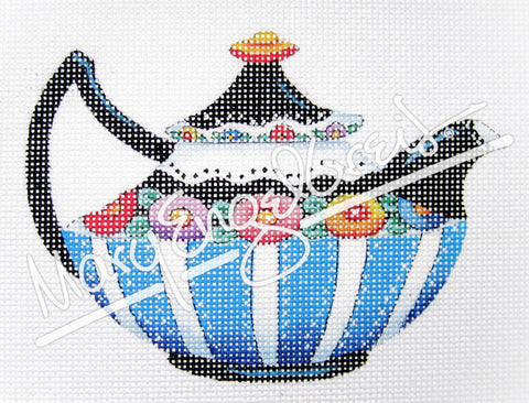 Needlepoint Canvas: Black & Blue Teapot