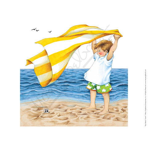 Boy Beach Towel Fine Print