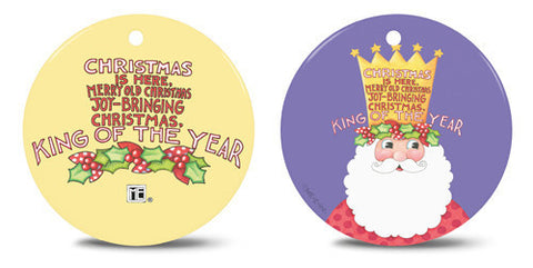 King of Christmas Ceramic Round Ornament