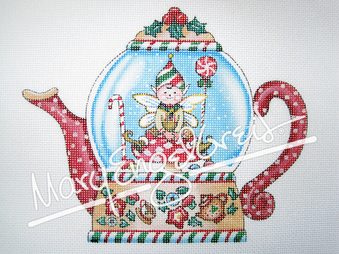 Needlepoint Canvas: Elf Teapot Snowglobe