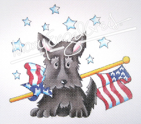 Needlepoint Canvas: Flag Day Scottie