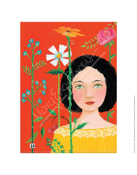 Girl With Flowers Fine Art Print