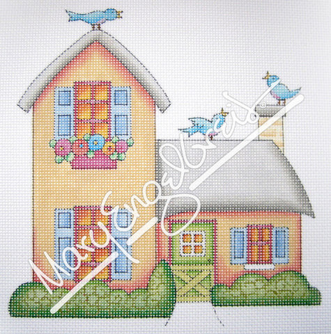 Needlepoint Canvas: Gold House