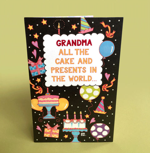 Grandma Cakes and Presents Birthday Card