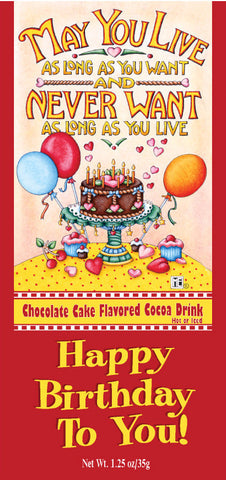 Happy Birthday Chocolate Cake Cocoa Packet