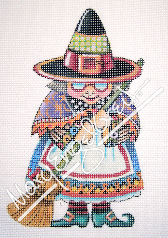 Needlepoint Canvas: Happy Halloween Witch
