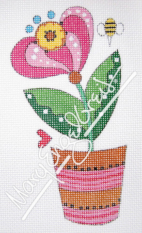 Needlepoint Canvas: Hot Pink Bloom