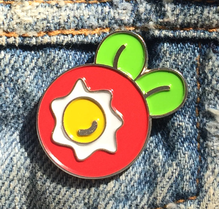 Fried Egg Flower Enamel Art Pin