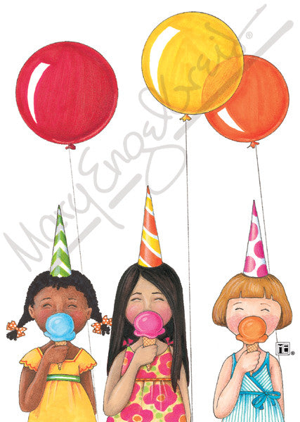Ice Cream Cone Girls Greeting Card
