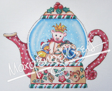 Needlepoint: Joy Teapot Snowglobe