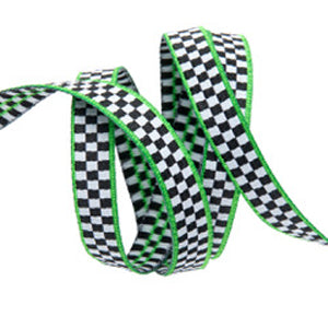 Checks Green Trim Ribbon, small