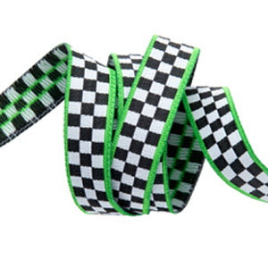Checkerboard/Green Trim Ribbon