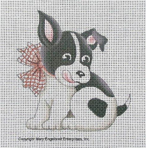 Needlepoint Canvas: Black and White Dog