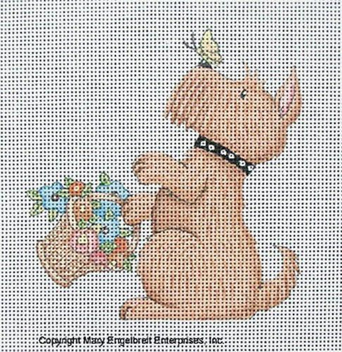 Needlepoint Canvas: Butterfly Scottie