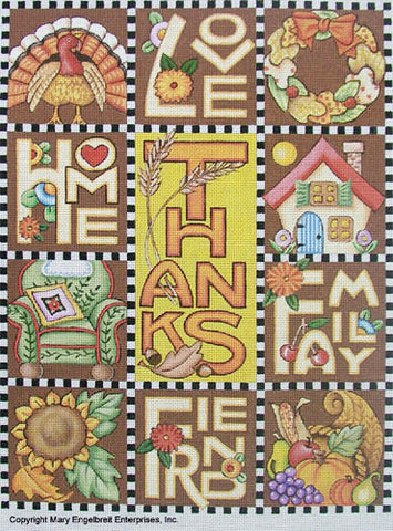 Needlepoint Canvas: Thanksgiving Love Home Family Friend