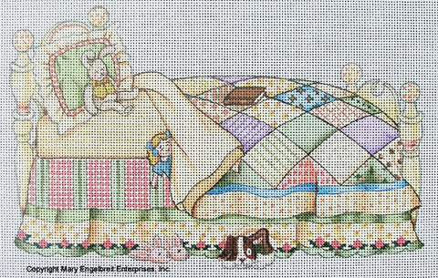 Needlepoint Canvas: Bed with Quilt