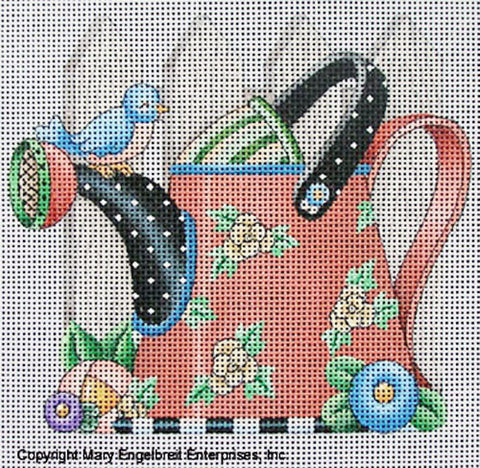 Needlepoint Canvas: Rose Watering Can