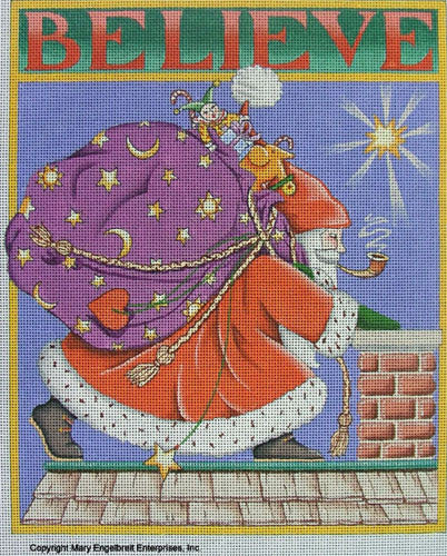 Needlepoint Canvas: Believe Santa with Background