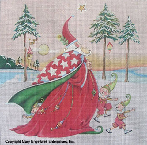 Needlepoint Canvas: Wizard Santa with Background