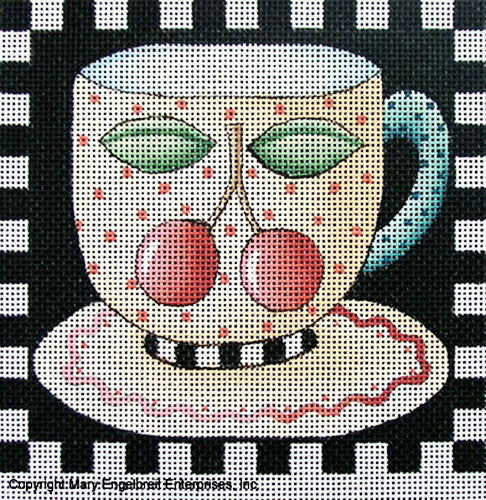 Needlepoint Canvas: Cherry Teacup