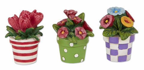 Mini Patterned Potted Flowers set