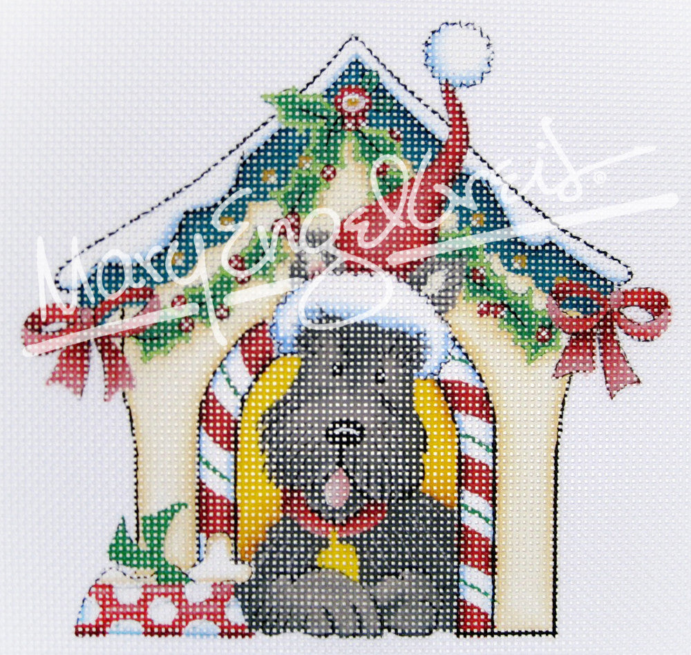 Needlepoint Canvas: Holiday Scottie