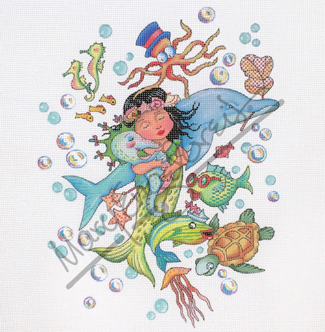 Needlepoint Canvas: Keep Swimming Mermaid