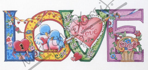 Needlepoint Canvas: L O V E