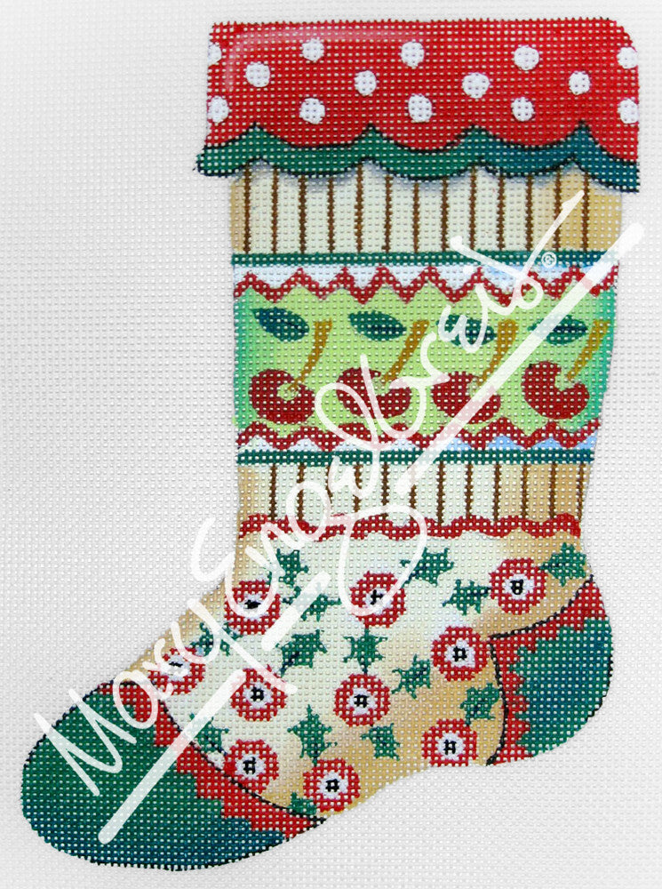 Needlepoint Canvas: Stocking Cherry Bands